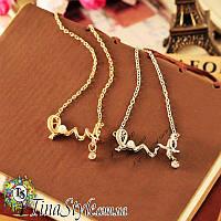 Подвеска кулон love любовь сердце 2 цвета серебро и золото для влюбленных жемчуг