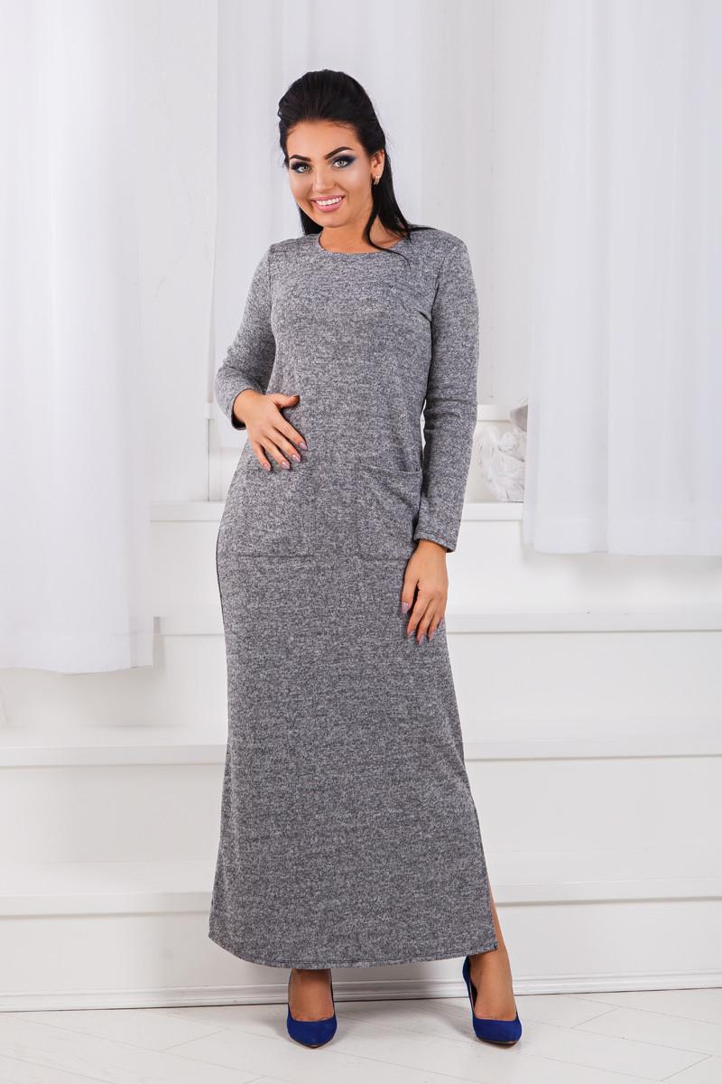 ДР1546 Платье теплое длинное размеры 42-56