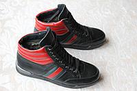 Зимние кожаные ботинки красно-черные VEST