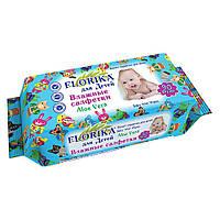 Салфетки влажные Florika 90шт. детские aloe vera