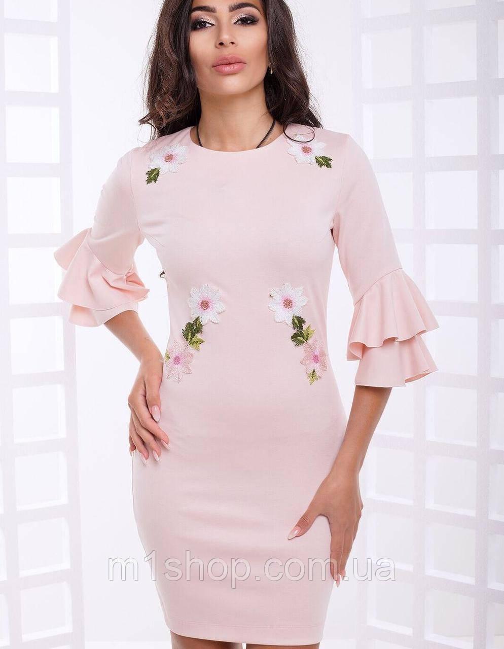 Красивое женское платье с воланами на рукавах (Орнелла lzn)