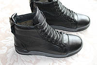 Зимние кожаные ботинки черные VEST