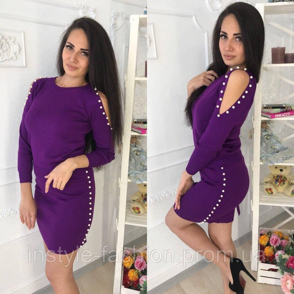 fa3145ddde5 Женский стильный костюм кофта+юбка ткань машинная вязка (трикотаж)  фиолетовый