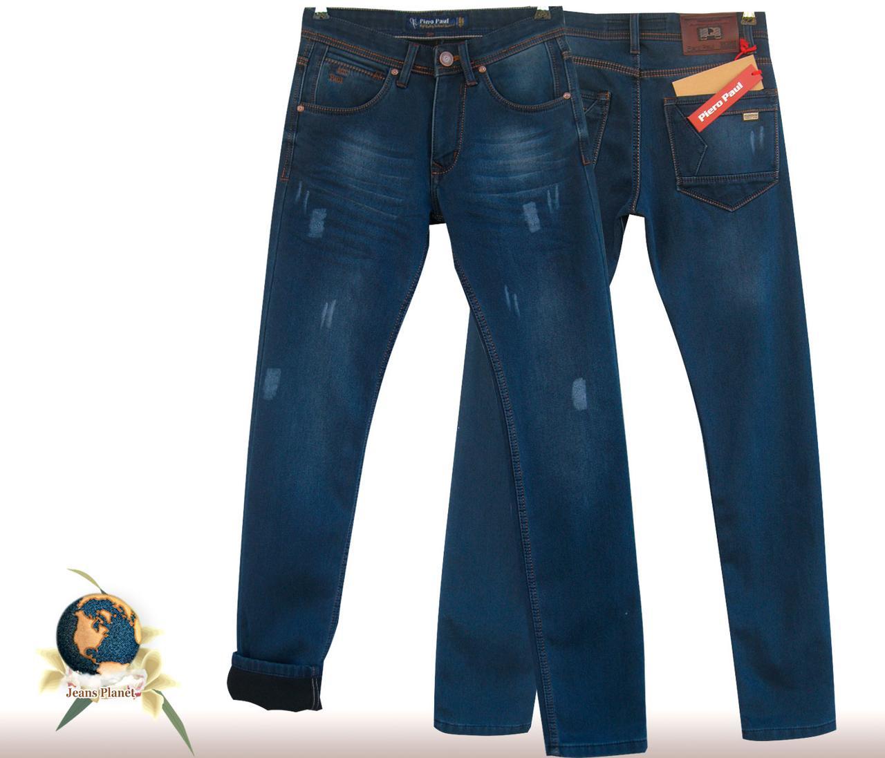 Джинсы мужские утеплённые зауженные Piero Paul потёртости 29 размер