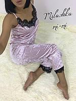 Женская Модная пижама из бархата с кружевом