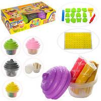 Пластилин пирожное, 6 цветов (баноч-форма),формочки 12шт, инструменты 3шт,в коробке