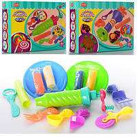 Пластилин 4 цвета,аппарат-пресс,инструменты,2 вида,в коробке,24-18-6cм