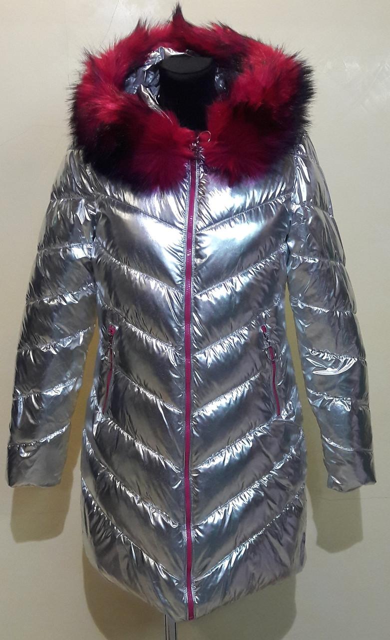 Куртка женская серебристая FASHION CLASSIC8801 скидка