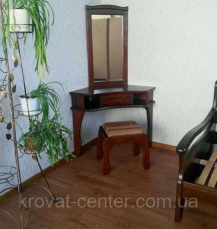 """Угловой туалетный столик """"Дарина"""" (столик, пуфик, зеркало). Массив - дуб., фото 2"""