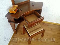 """Угловой туалетный столик """"Дарина"""" (столик, пуфик, зеркало). Массив - дуб., фото 3"""