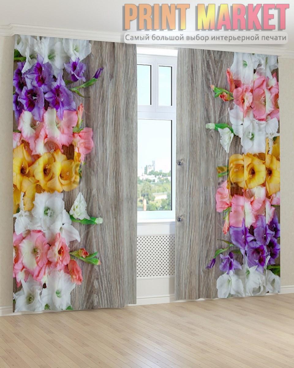 Фото шторы разноцветные цветы 3d