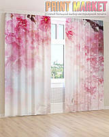 Фото шторы розовая ветка 3д