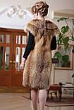 Жилет жилетка из лисы (перфорация), длина 100 см Fur vest fur waist coat made of perforated fox skins, фото 2