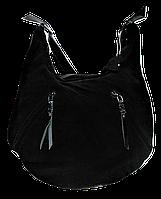 Превосходная женская сумочка из натуральной замши черного цвета ААА-077544, фото 1