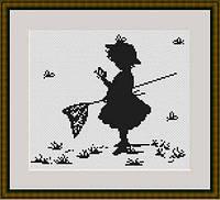 """Набор для вышивки крестом """"Девочка с сачком"""""""