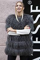 """Жилет из серой испанской ламы """"Джемма"""" Spanish lamb fur vest"""