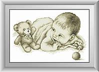 Малыш с мишкой. Набор алмазной живописи (квадратные, полная)