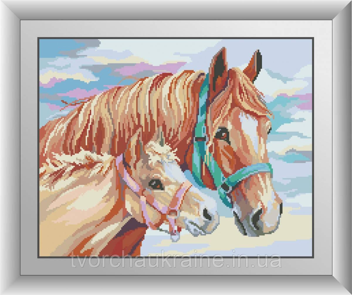 С мамой (лошади). Набор алмазной живописи (квадратные, полная)