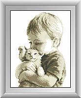 Малыш с котенком. Набор алмазной живописи (квадратные, полная)