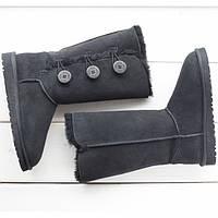 Женские высокие угги UGG Australia Bailey Button Triplet Black, высокие Угги УГГ Австралия с пуговицами черные