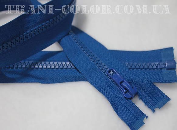 Молния (змейка) синий электрик разъемная (тракторная, №5, 80см, пластмасс), фото 2