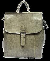 Женская сумка рюкзак с пряжкой серого цвета из натуральной кожи NОА-059079, фото 1