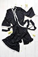 Хлопковый домашний комплект пеньюар и халат