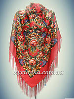Шерстяной платок Дамский каприз, красный 140см