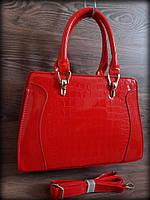 Женская лаковая сумка, красная
