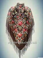Шерстяной платок Дамский каприз, коричневый 140см