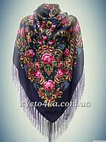 Шерстяной платок Дамский каприз, фиолетовый 140см
