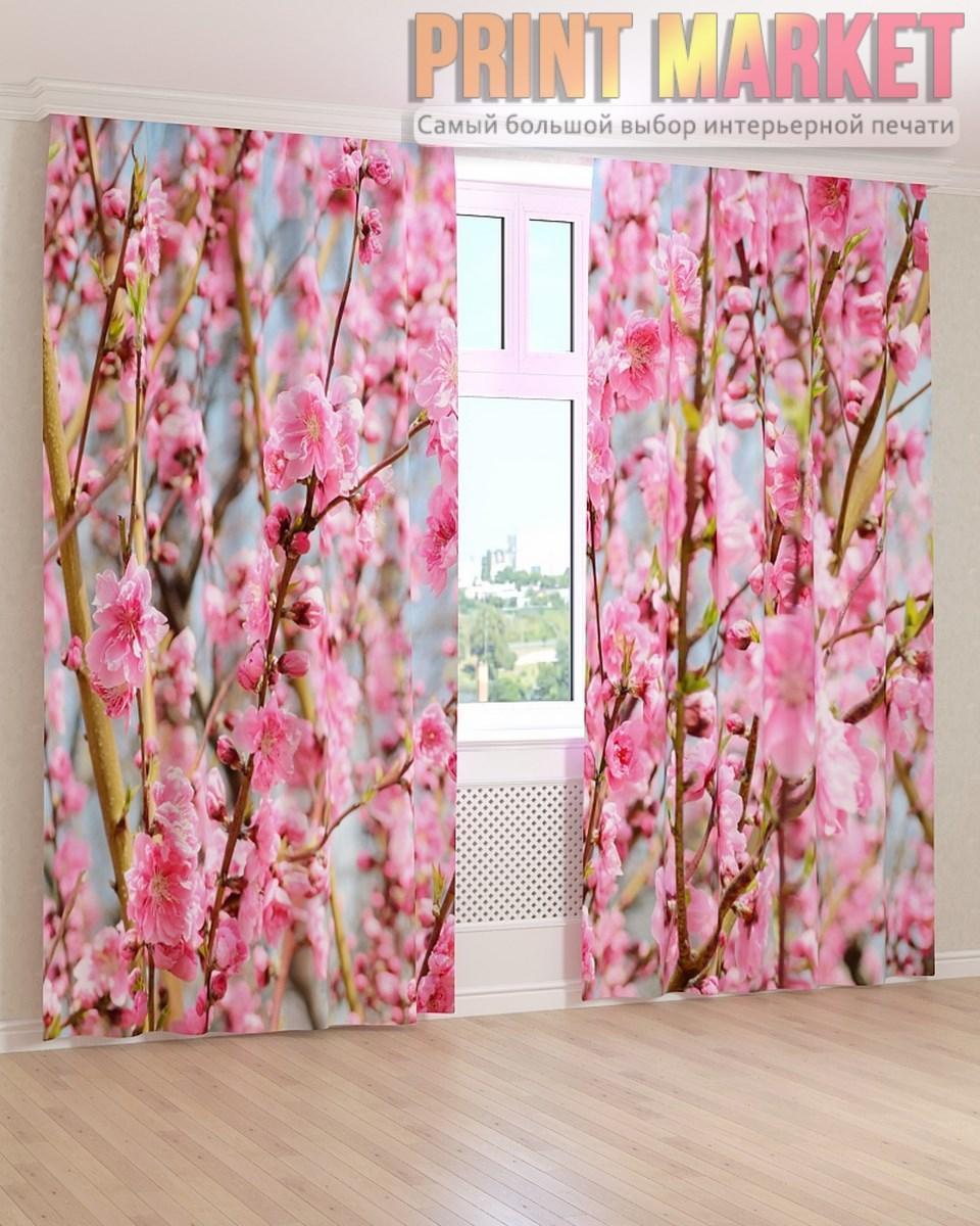Фото шторы ярко-розовые ветки