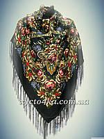 Шерстяной платок Дамский каприз, чёрный 140см