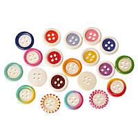 Пуговица с четырьмя отверстиями, Разные цвета, 15 мм, 10 шт., фото 1