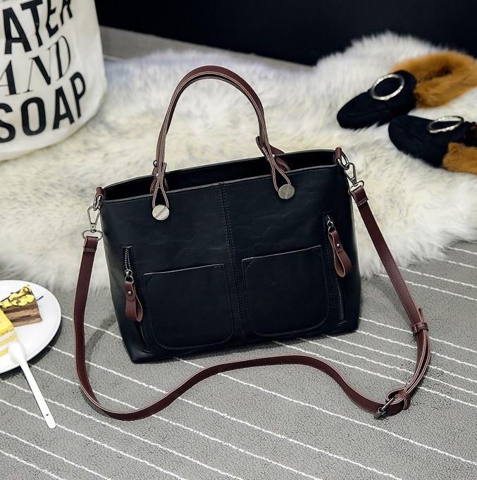 Женская сумка с карманами Prestige черная
