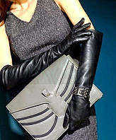Перчатки женские черные длинные PU кожа выше локтя 50 см