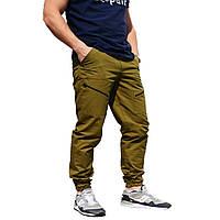 Мужские штаны зауженные с манжетами, горчичные