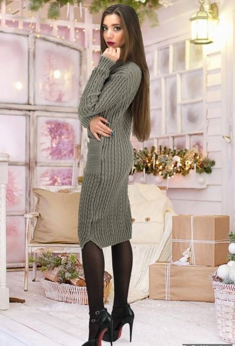 a4fdf81d084 Жіноче в язане сіре плаття з накладними кишенями Brenda