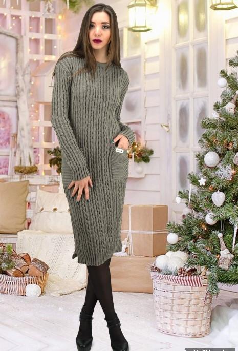 646662d2234 Жіноче в язане сіре плаття з накладними кишенями Brenda - Інтернет-магазин  жіночого одягу