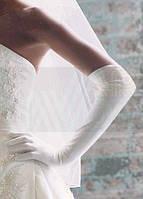 Перчатки женские длинные белые свадебные выше локтя глянцевые 50 см