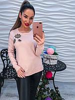 Женский вязаный свитер декорированный стразами
