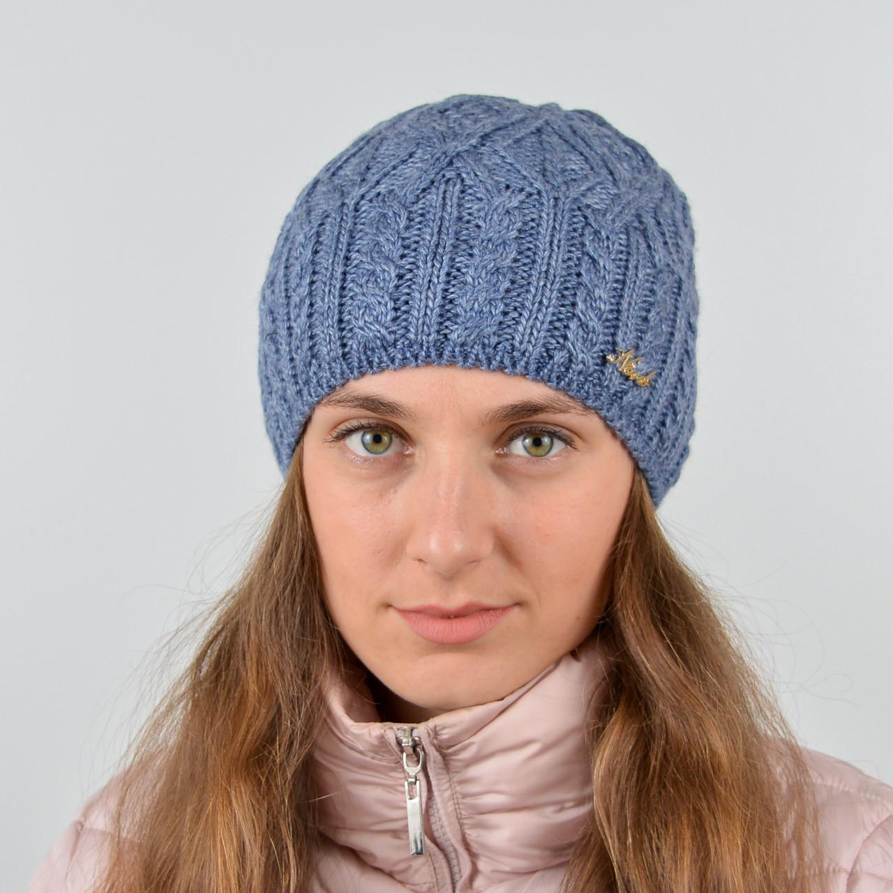 """Вязаная женская шапка, """"Джесси"""" (Джинс светлый)"""