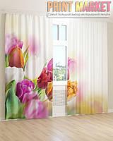 Фото шторы 3Д разноцветные тюльпаны