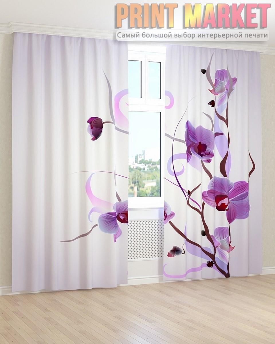 Фото шторы 3Д фиолетовая орхидея