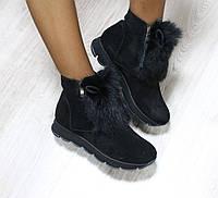 Женские зимние ботинки на двух замках Цвет : черный Материал : натуральная замша Утеплитель : полушерсть