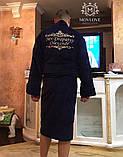 Махровий халат з іменною вишивкою синій, фото 8