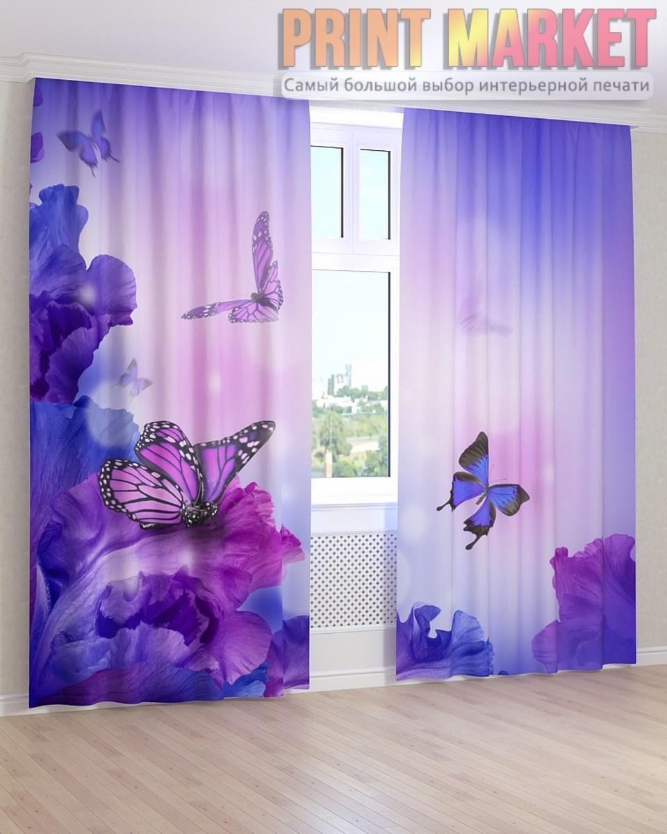 Фото шторы синие бабочки на цветах 3д - Принт Маркет в Днепре