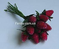 """Искусственные  ягоды клубники""""стеклянные"""" для декора красные 1*2 см (1 набор - 12шт)"""