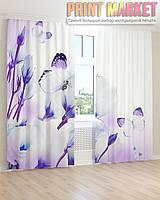 Фото шторы бело-голубые цветы и бабочки
