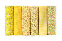 Набор тканей (Ткань) для Пэчворка желтые 50x50 см 6 шт